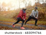 top view of two senior runners  | Shutterstock . vector #683094766