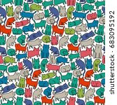 seamless pattern with funny... | Shutterstock .eps vector #683095192