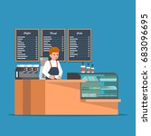 barista behind counter bar of... | Shutterstock .eps vector #683096695
