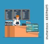 barista behind counter bar of... | Shutterstock .eps vector #683096695