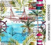 watercolor adventure seamless... | Shutterstock . vector #683096932