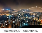 hong kong cityscape and network ... | Shutterstock . vector #683098426