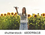 beautiful woman is holding a... | Shutterstock . vector #683098618
