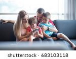happy young family playing... | Shutterstock . vector #683103118