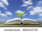 tree grow up from book with... | Shutterstock . vector #683103745