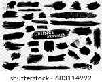 40 hand drawn grunge strokes set | Shutterstock .eps vector #683114992
