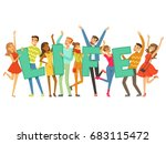 group of smiling people holding ... | Shutterstock .eps vector #683115472