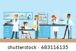 scientists man and woman... | Shutterstock .eps vector #683116135
