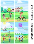 children having fun in summer... | Shutterstock .eps vector #683118415