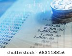 graph on rows of coins for... | Shutterstock . vector #683118856