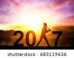 silhouette of softball player... | Shutterstock . vector #683119636