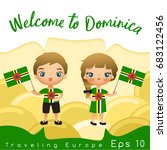 dominica   boy and girl with... | Shutterstock .eps vector #683122456