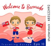 bermuda   boy and girl with... | Shutterstock .eps vector #683122492