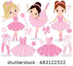 vector set with cute little... | Shutterstock .eps vector #683122522