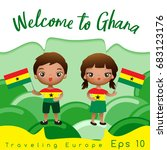 ghana   boy and girl with... | Shutterstock .eps vector #683123176