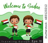 sudan   boy and girl with... | Shutterstock .eps vector #683123212