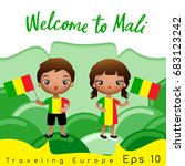 mali   boy and girl with... | Shutterstock .eps vector #683123242