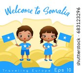 somalia   boy and girl with... | Shutterstock .eps vector #683123296