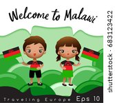 malawi   boy and girl with... | Shutterstock .eps vector #683123422