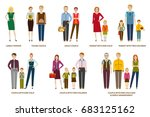 different family compositions...   Shutterstock .eps vector #683125162