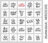 25 hand lettering poster set to ... | Shutterstock . vector #683131102