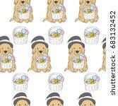 cartoon cute halloween  dog and ... | Shutterstock .eps vector #683132452