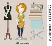 tailor or dressmaker designer...   Shutterstock . vector #683134522