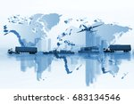 shipping  delivery car  ship ... | Shutterstock . vector #683134546