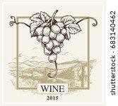 wine label vector grape and... | Shutterstock .eps vector #683140462