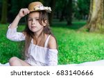 beautiful little girl in straw... | Shutterstock . vector #683140666