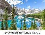 Moraine lake in Banff National Park, Canadian Rockies, Canada. Most famous scenery in Rockies.