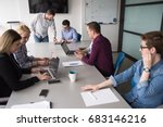 business team meeting in modern ... | Shutterstock . vector #683146216