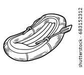 inflatable boat hand drawn... | Shutterstock . vector #683152312