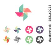 Hand windmill colorful logo