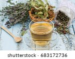 various dried meadow herbs and... | Shutterstock . vector #683172736