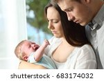 tired desperate parents holding ... | Shutterstock . vector #683174032