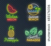 isolated neon sign theme summer.... | Shutterstock .eps vector #683176336