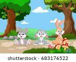 cute little rabbits cartoon... | Shutterstock .eps vector #683176522