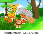 cartoon wild animal in the... | Shutterstock . vector #683179306