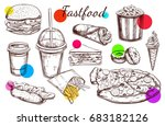 fastfood dishes with drinks . ... | Shutterstock . vector #683182126