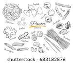 italian pasta frame. different... | Shutterstock . vector #683182876