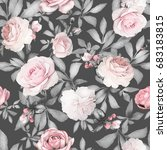 seamless pattern with pink... | Shutterstock . vector #683183815
