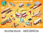 express delivery man isometric... | Shutterstock .eps vector #683184016