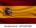 national flag of spain on wavy... | Shutterstock .eps vector #683185486