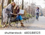 group of smiling college girls... | Shutterstock . vector #683188525