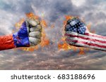 two fist with the flag of... | Shutterstock . vector #683188696