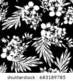 seamless black and white floral  | Shutterstock .eps vector #683189785