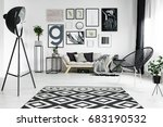 stylish white living room with... | Shutterstock . vector #683190532