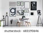 scandi style dining hall with... | Shutterstock . vector #683190646