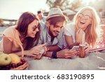 young friends enjoying beach... | Shutterstock . vector #683190895